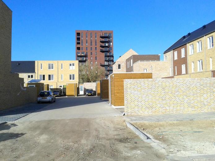 Zicht op binnenterrein van het nieuwe bouwblok in Tilburg.