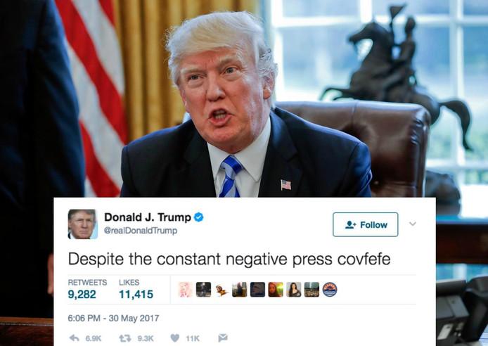 De Amerikaanse president Donald Trump twitterde eind mei het inmiddels beruchte woord 'covfefe'.