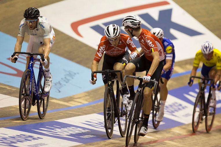 Jasper De Buyst en Tosh Van der Sande (in rode Lotto-shirts) vorig jaar tijdens de Zesdaagse.