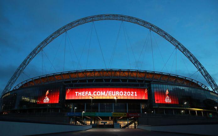 Het beroemde Wembley-stadion vanavond.