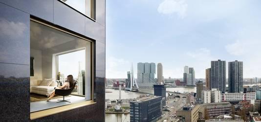 De appartementen krijgen ramen van vloer tot plafond.