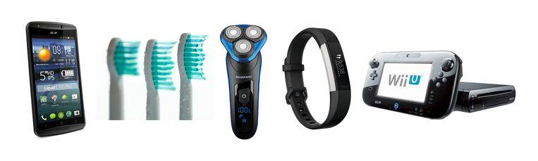 Vijf items, van links naar rechts, waarover Philips de laatste tijd rechtszaken voerde vanwege patenten: een mobieltje van Acer, elektrische tandenborstels, scheerapparaten, de fitbit en de spelcomputer Wii van Nintendo. Beeld de Volkskrant
