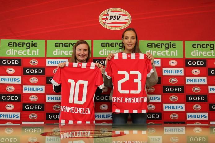 Davinia Vanmechelen (l) en Anna Björk Kristjánsdóttir zijn de winterse aanwinsten van PSV.