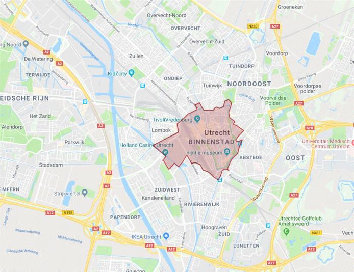 Gebied van de milieuzone in Utrecht.