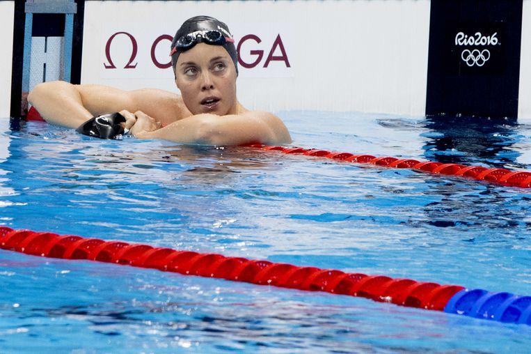 'Ik kan hier wel staan huilen', zei Femke Heemskerk na het missen van de finale 200 meter vrije slag. Beeld anp