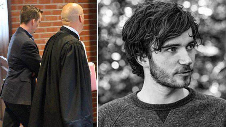 Links: dader Bryan I. vandaag in de rechtbank; rechts: slachtoffer Jelle Tommeleyn