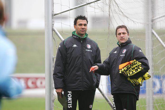 Ruud Gullit en Zeljko Petrovic in het najaar van 2004 als trainers van Feyenoord.
