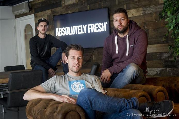 De drie eigenaren van Absolutely Fresh. Koen Bredeveld, Maarten Quak en Eric van Oosterbaan