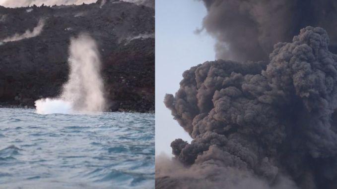 VIDEO. Toeristen bijna geraakt door brokstukken uitbarstende vulkaan