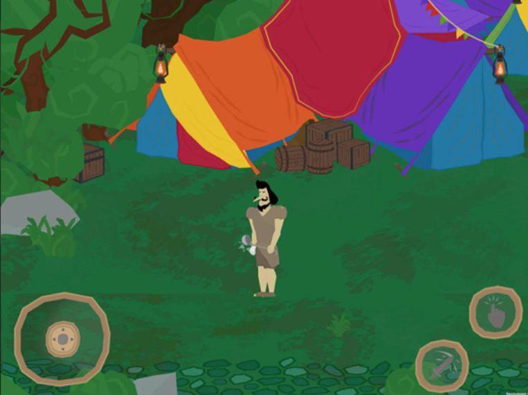 Een screenshot van 'Karaton', het computerspelletje waarin je op zoek gaat naar de verloren leeskracht van de koning.