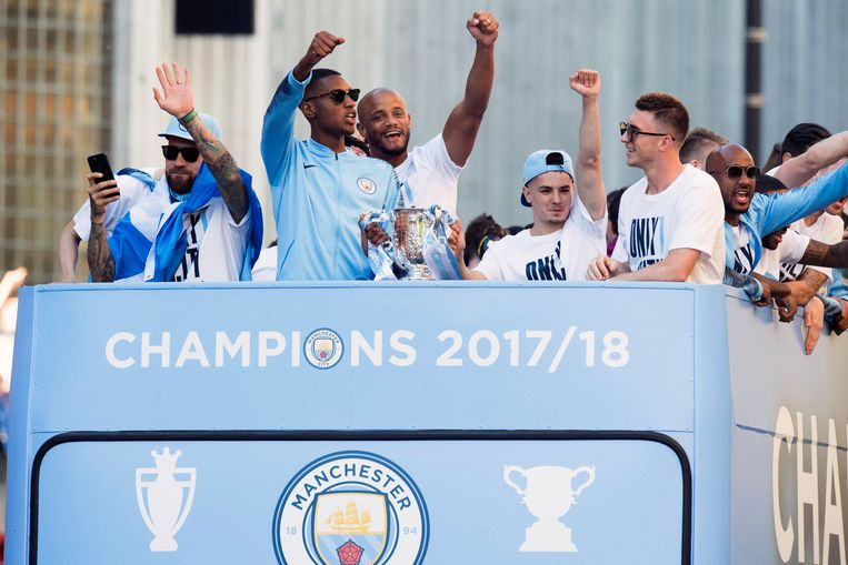 Tijdens de titelviering van Manchester City eerder deze maand.