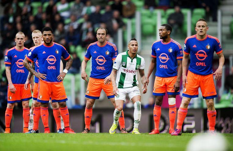 Feyenoord-spelers in het nieuwe uitshirt. Beeld anp
