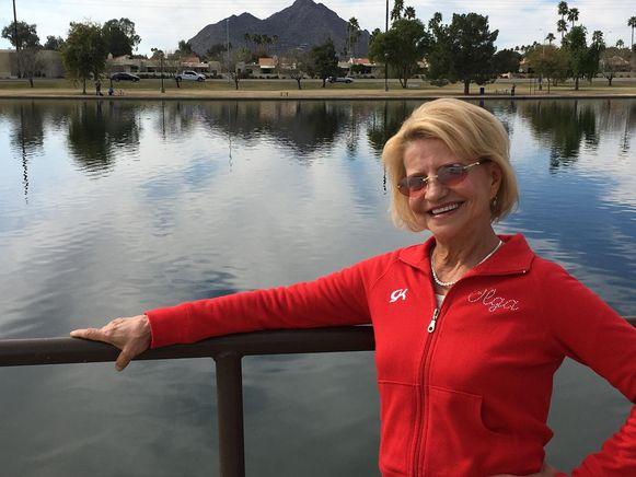 Olga Korbut in het Amerikaanse Scottsdale (Arizonza) waar ze momenteel leeft.