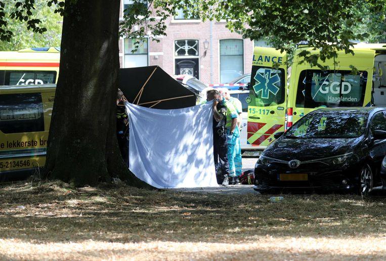 Hulpdiensten op de plek aan het Kalverbos in Delft waar de Delftse crimineel Karel Pronk is doodgeschoten.  Beeld ANP