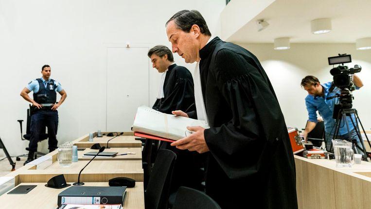 Geert-Jan Knoops, de advocaat van Geert Wilders, in de rechtbank op Schiphol. Beeld anp