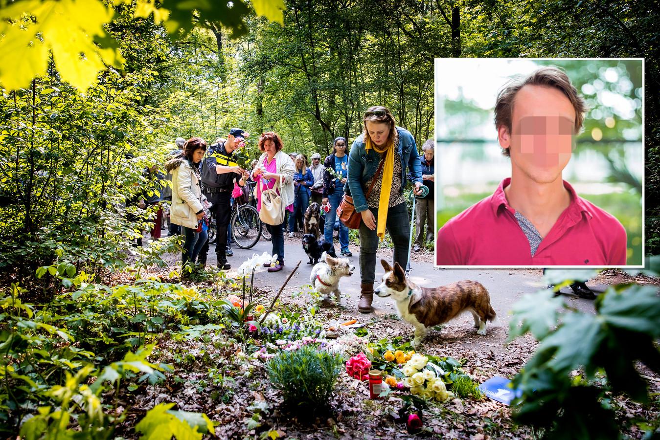 Hondenbezitters lopen mee met de stille tocht voor Etsuko, de vrouw die in de Scheveningse Bosjes gedood werd door Thijs H.