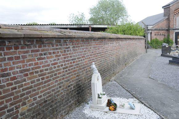 Dit is de achterzijde van de muur, aan de kant van het kerkhof.