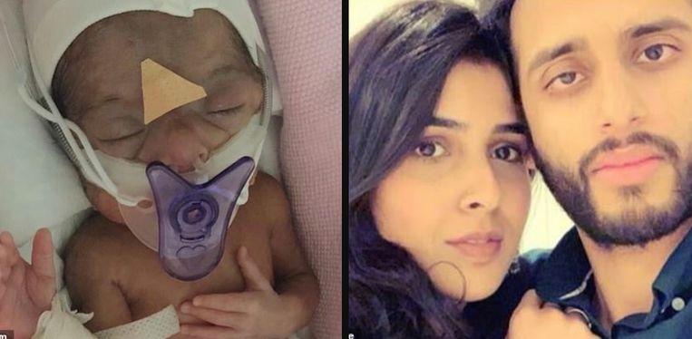 Links: Amal vecht al twee maanden voor haar leven, maar ze lijkt het te halen. Rechts: Syeda Khola Adnan en Azhar Saleem, die zo snel mogelijk opnieuw verenigd willen worden.