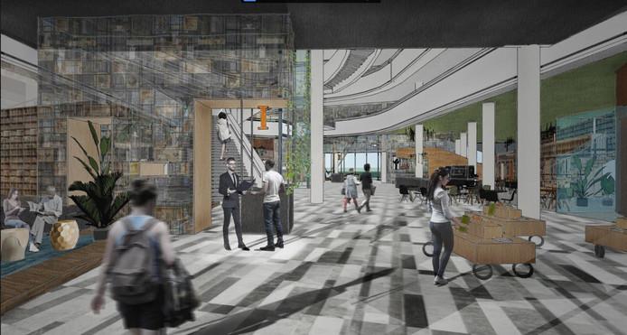 Een mogelijke invulling van het atrium van het stadshuis van Nieuwegein.