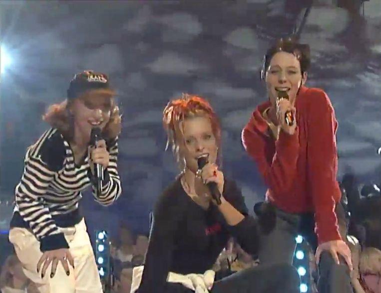 Kathleen, Karen en Kristel tijdens hun allereerste tv-optreden.