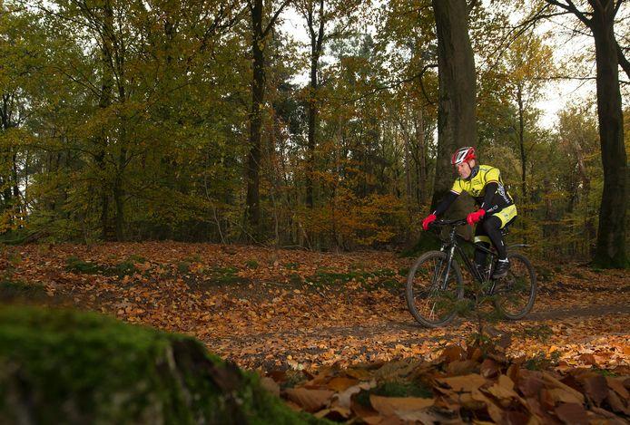 Mountainbiker Michel Elshof op de huidige mtb-route in het Bergherbos.