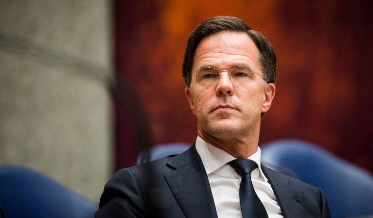 Premier Mark Rutte tijdens het wekelijkse Vragenuurtje in de Tweede Kamer.  Beeld ANP