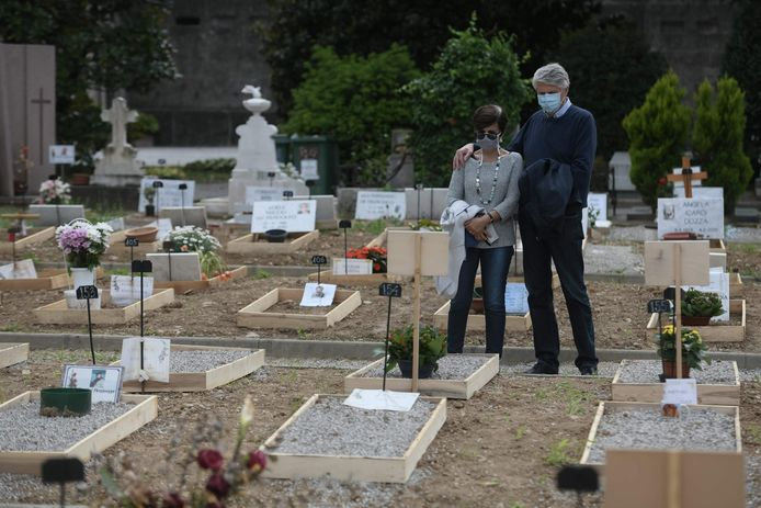 Archiefbeeld. Kerkhof in de Italiaanse stad Bergamo. De stad werd tijdens de eerste golf van de coronapandemie hard getroffen door het virus.