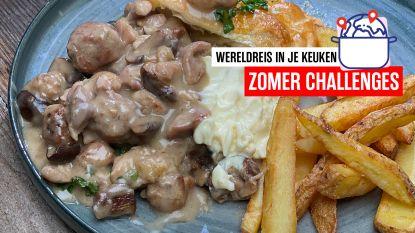 Op wereldreis in je keuken - Belgische vol-au-vent in de oven met bladerdeeg en frietjes