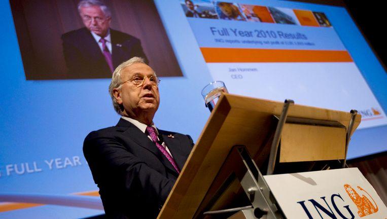 Topman Jan Hommen van ING, die veel kritiek kreeg toen bekend werd wat hij aan bonussen verdiende over 2010. Beeld null
