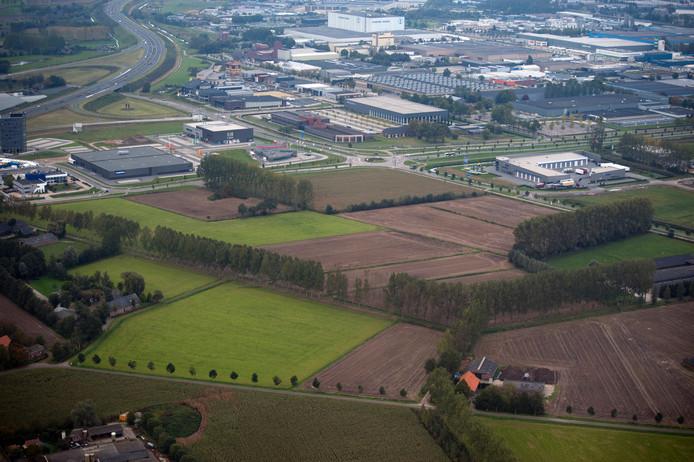 Het beoogde gebied waar de gemeente Veghel een nieuw bedrijventerrein onder de titel Foodpark wil vestigen. Boven de bestaande bedrijventerreinen De Dubbelen en Doornhoek en de A50.