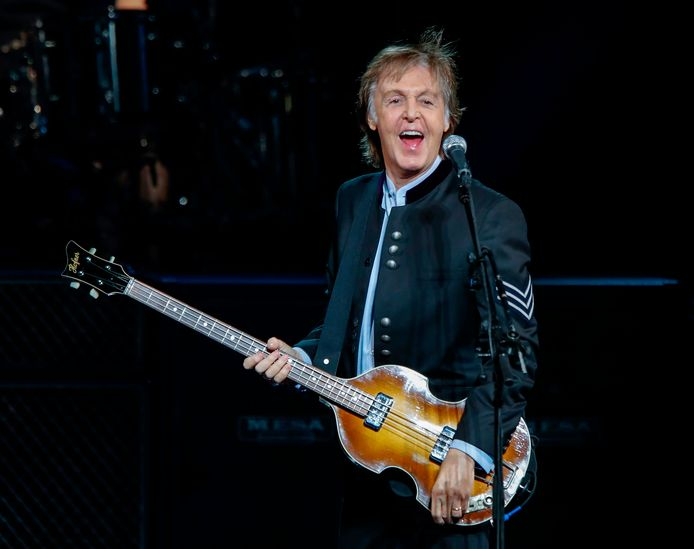 Sir Paul McCartney treedt op in Tinley Park, Illinois.