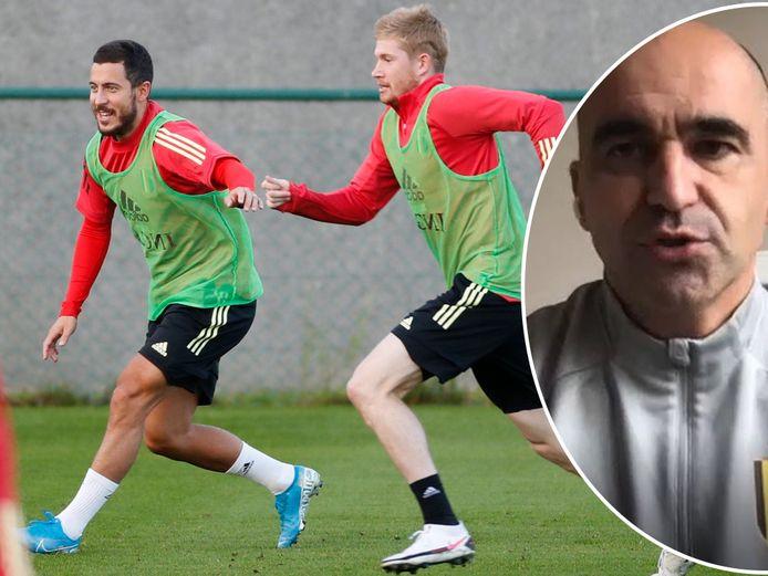 Eden Hazard en Kevin De Bruyne op training bij de Rode Duivels: een beeld dat bondscoach Martínez (rechts) hopelijk gauw weer te zien krijgt.