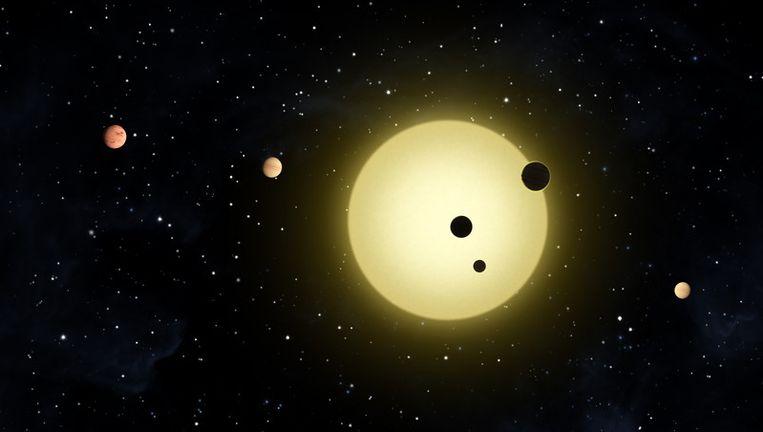 Kepler-11, een zonachtige ster, waaromheen zes planeten cirkelen. Beeld ap