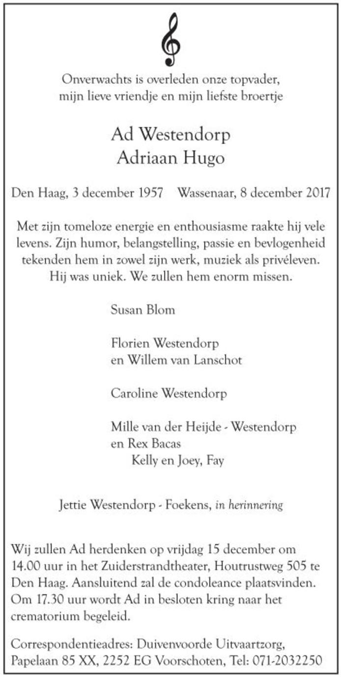 Overlijdensadvertentie in AD 12-12-2017.