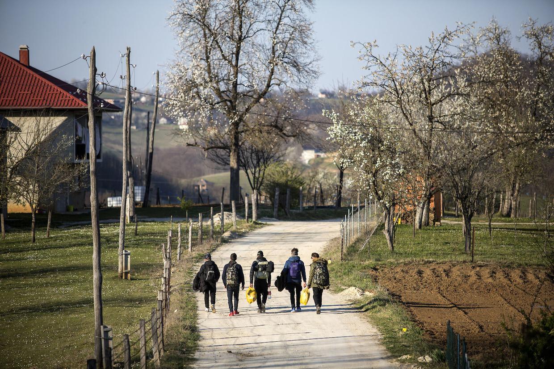 Een groep migranten start een poging om te voet de grens met Kroatië over te steken.
