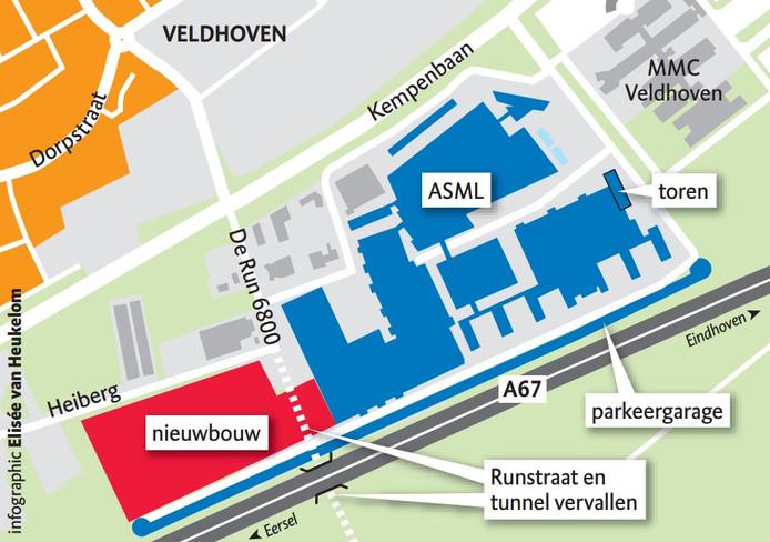 Plattegrond van het gebouw van ASML met het oorspronkelijke plan om tunnel en Runstraat af te sluiten voor nieuwbouw logistiek centrum.