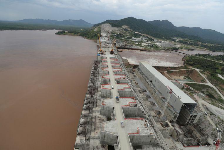 De bouw van de Grote Renaissancedam in de Blauwe Nijl in Ethiopië die in 2011 is begonnen. Beeld REUTERS/Tiksa Negeri