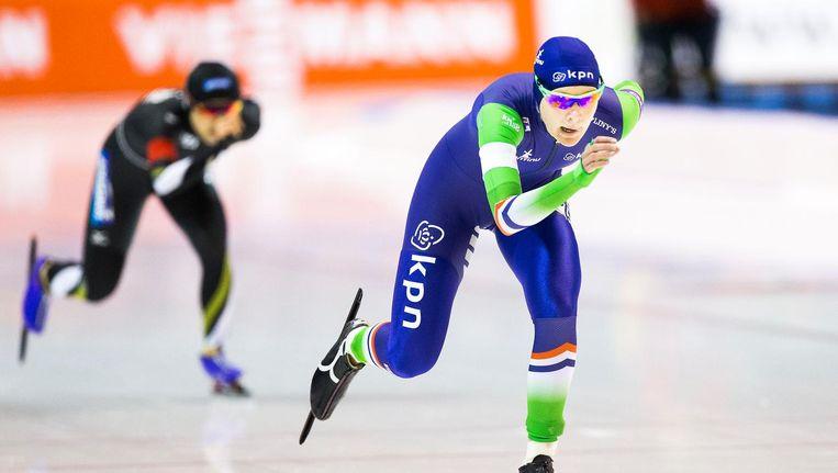 Yvonne Nauta in actie op de 3000 meter tijdens de World Cup finale in Thialf Beeld anp