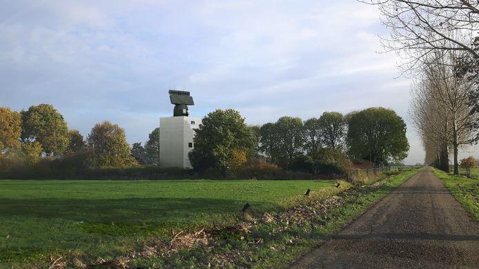 Een impressie van hoe de radar in Herwijnen eruit komt te zien.