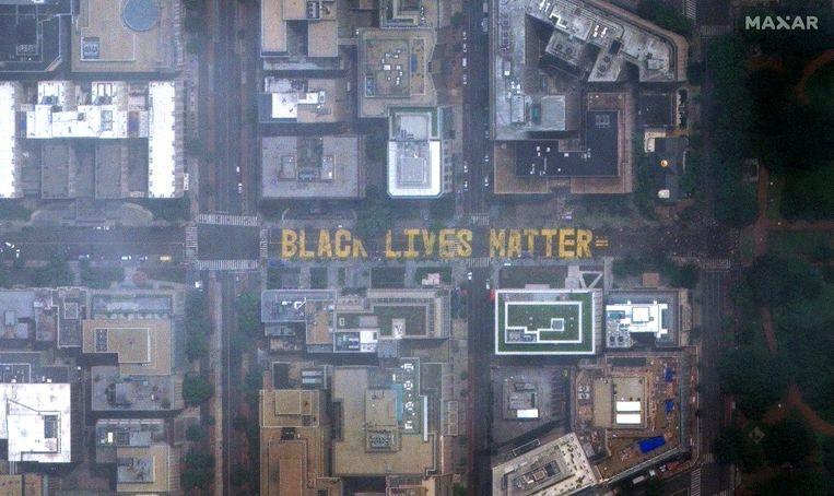 Luchtfoto 'Black Lives Matter'