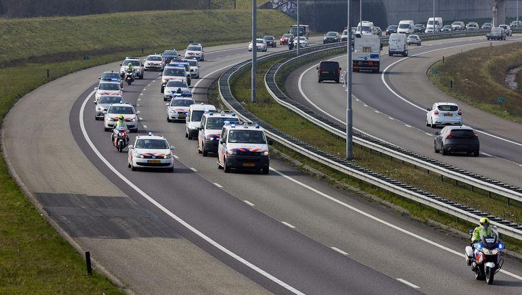 De politiebonden ACP en NPB hielden op 24 maart ook al een langzaamaanactie op de A16 en de A58 tussen Breda en Zeeland. Beeld null