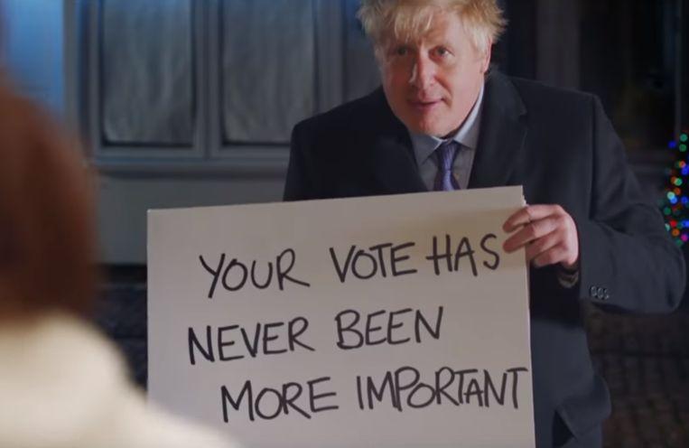 Beeld uit de parodie van Boris Johnson. Beeld Campagne Conservatieve Partij