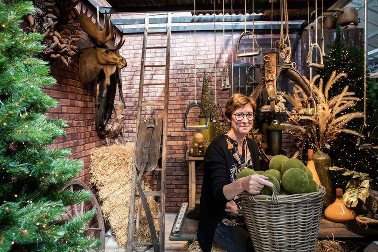 De eerste kerstcollectie in Floralux. CEO Marleen Theys.