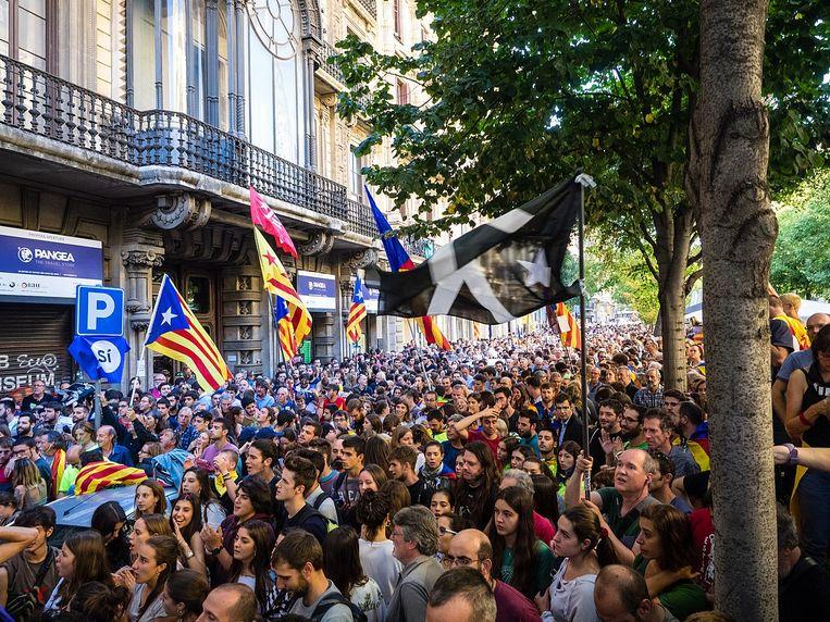 Een protestmars in 2017 Beeld Màrius Montón