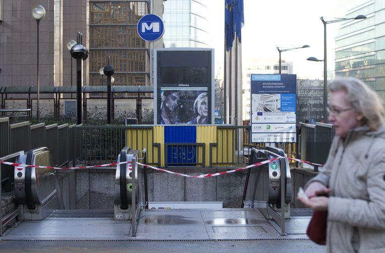 Een afgesloten metrostation in Brussel. Beeld ap