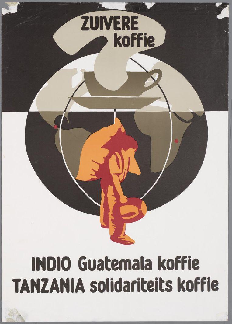 Affiche van de Wereldwinkels voor 'zuivere koffie' uit Guatemala. Beeld Katholiek Documentatie Centrum