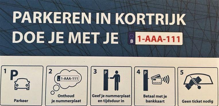 De flyer, met uitleg hoe je het best parkeert.