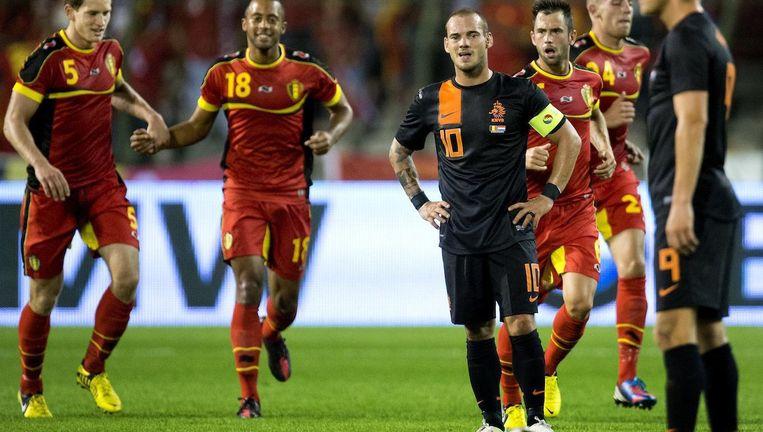 De laatste ontmoeting tussen beide landen was vier jaar geleden in Brussel het eerste duel van Louis van Gaal als bondscoach, en ging met 4-2 verloren. Beeld anp
