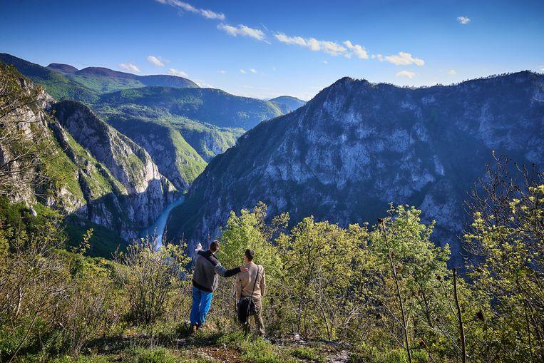De kloof met in de verte de rivier de Dina. Aan de overkant is Bosnië-Herzegovina. Beeld Theo Stielstra