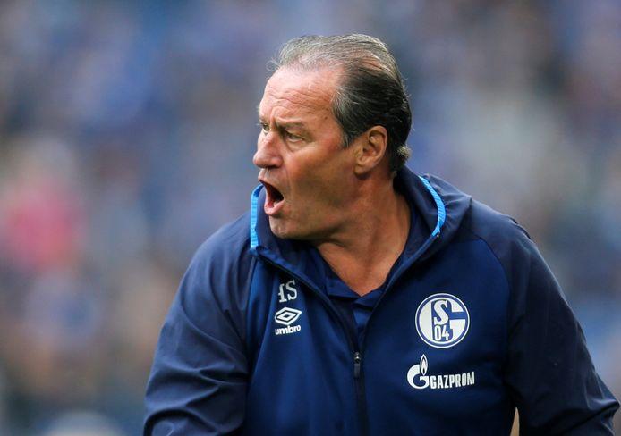 Huub Stevens in 2019 als interim-trainer van Schalke 04.